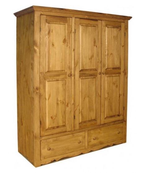 Трехдверный шкаф для одежды с 2 ящиками