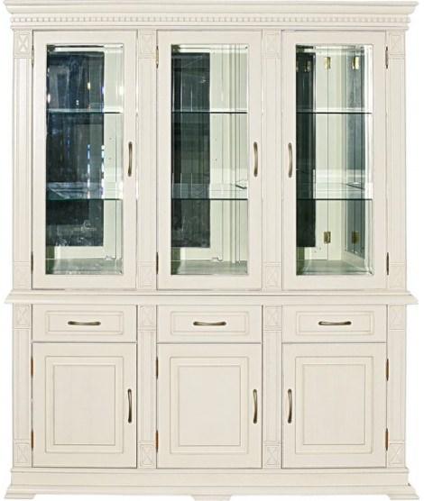 Широкий комбинированный шкаф Верди А 3з с витриной