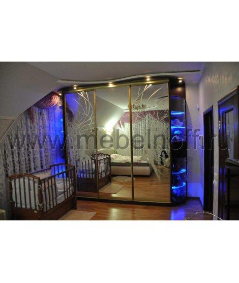 Шкаф купе с романтичным рисунком для спальни (модель 29)