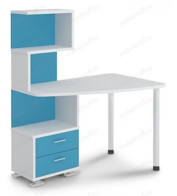 Стол компьютерный Домино нельсон СКМ-60 белый жемчуг/синий мрамор/хром