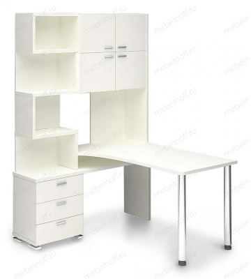 Стол компьютерный Латте СР-500М140 белый/хром