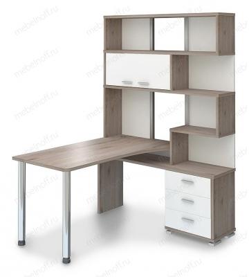 Стол компьютерный Домино нельсон СР-420-150 белый жемчуг/нельсон/хром