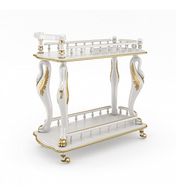 Стол сервировочный из дерева Zzibo Белый с золотом арт. 39