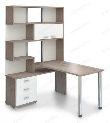 Стол компьютерный Домино нельсон СР-420-130 белый жемчуг/нельсон/хром