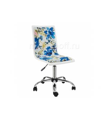 Стул Компьютерное кресло Mis white / flowers fabric