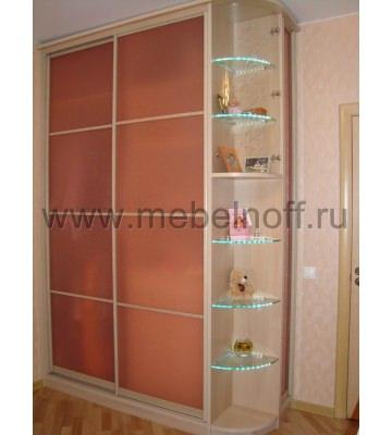 Шкаф купе с розовыми стеклами (модель 9)