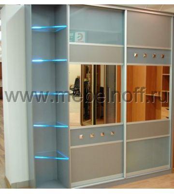 Шкаф купе в цвете серебро (модель 24)