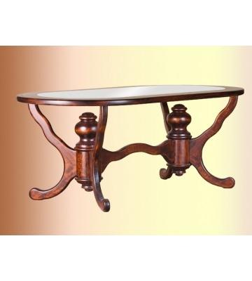 Овальный деревянный журнальный столик со Стеклом К 01 04